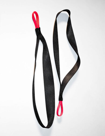 JimSupport Nylon Stirrups With Red Nylon Loops, Laid Flat