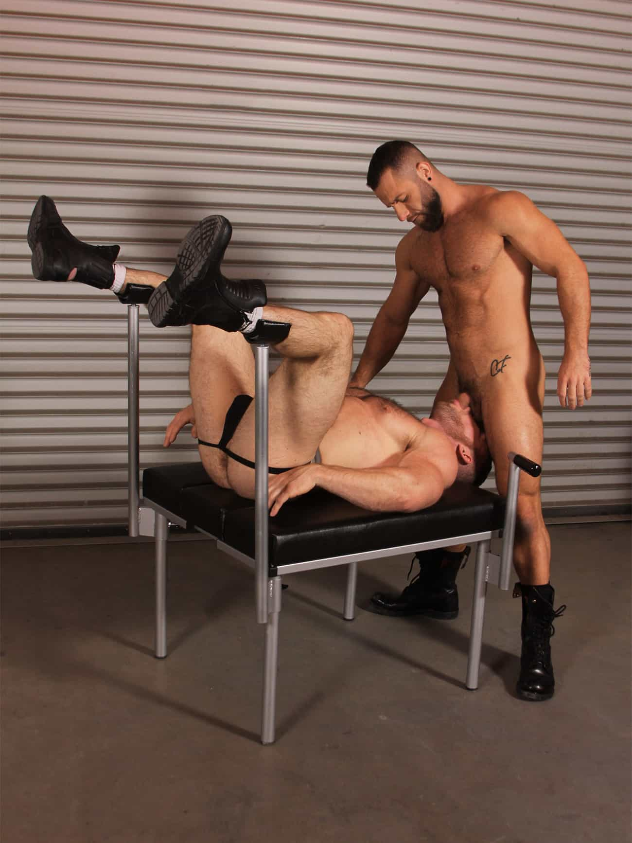 JimSupport Fuck Bench with Leg Holders, Model Shot 1